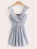 Elastic Waist Ruffle Trim Striped Dress